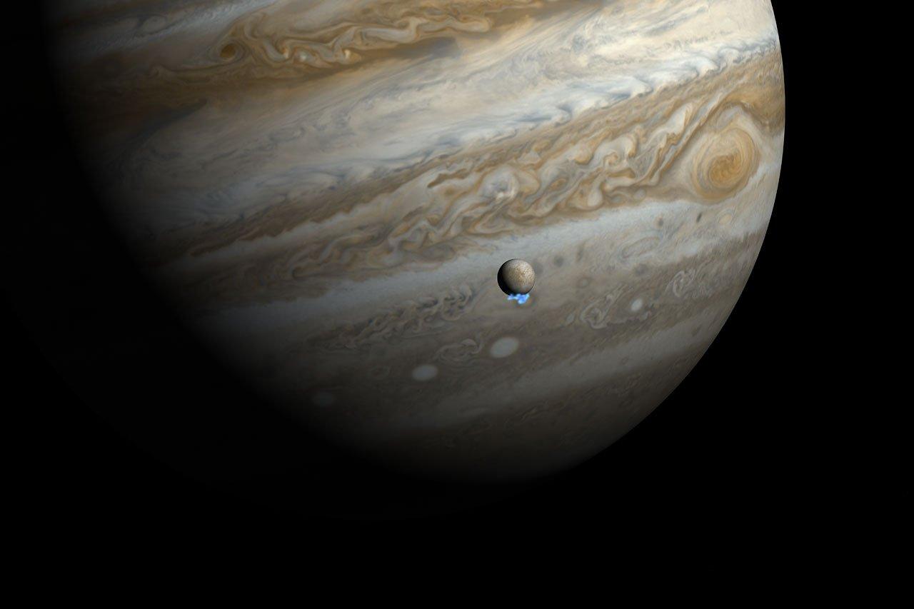Water vapour plumes on Jupiter's moon Europa (artist's impressio
